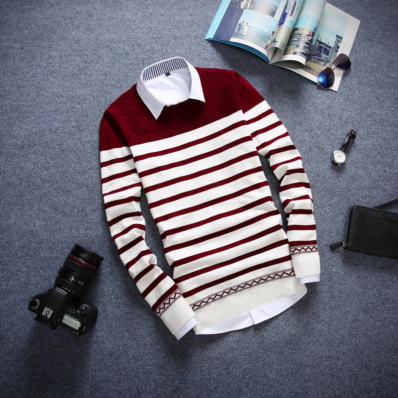 秋装男士毛衣外套韩版圆领套头日系线衣青年修身长袖针织衫潮男装