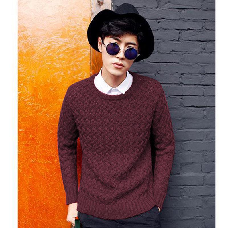 男装毛衣新款韩版圆领男式套头打底衫日系针织衫男士外套纯色6698