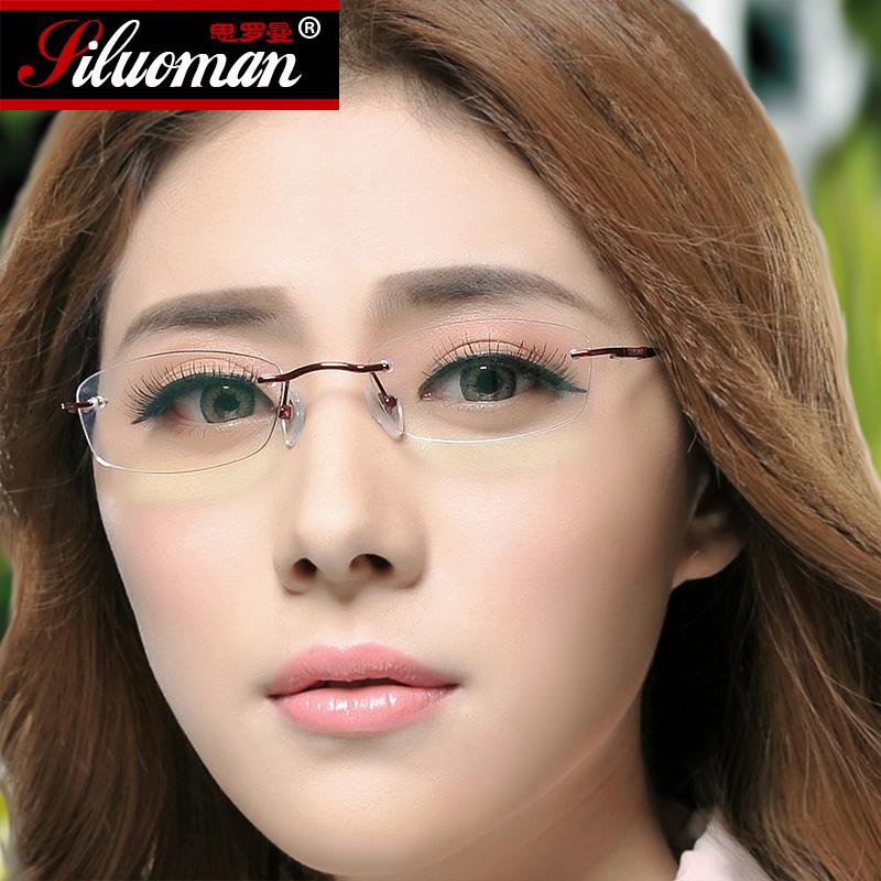 纯钛眼镜架女 近视眼镜框 时尚无框正品超轻钛架仿切边配镜 2135
