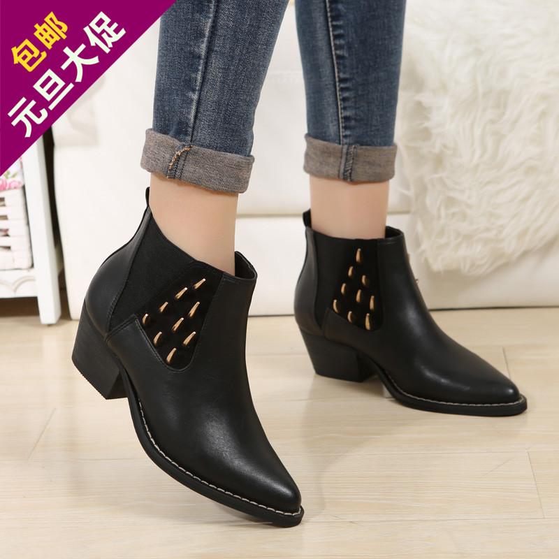 2014女秋冬加绒女靴新款短筒粗跟铆钉马丁靴 尖头低跟女真皮矮靴