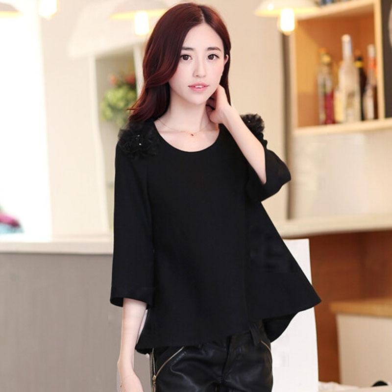 2014秋装新款韩版女装圆领宽松显瘦七分袖T恤钉珠毛呢女士t恤