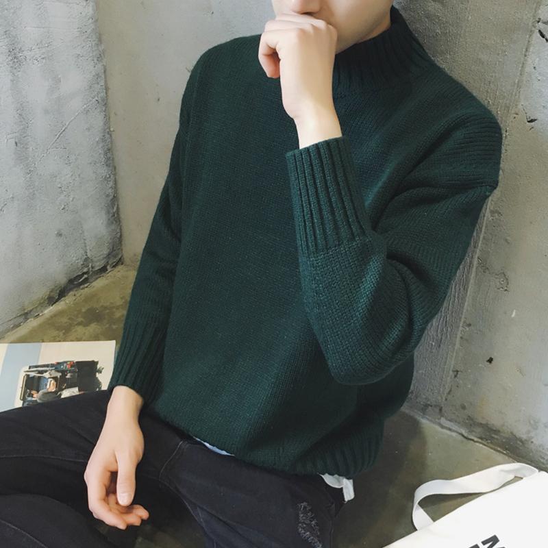 秋冬男士针织衫韩版套头加厚毛衣外套圆领毛线衣学生打底衫潮男装