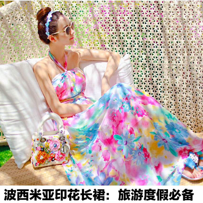 2015夏季印花波西米亚长裙 抹胸碎花连衣裙 一字领沙滩度假连衣裙