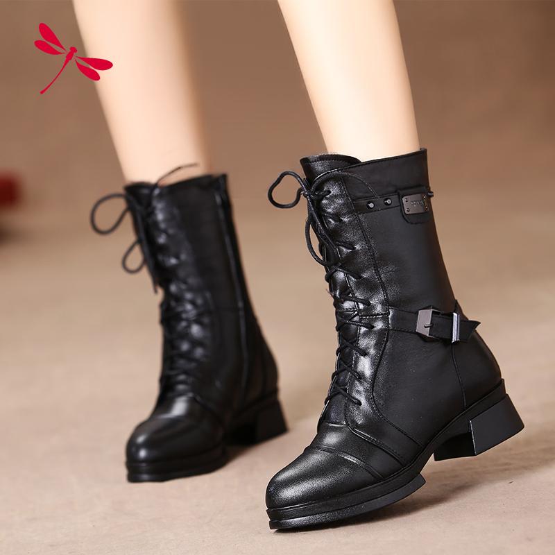 2014冬季新款正品 全皮真皮女棉鞋 马丁靴中筒靴舒适粗跟女靴军靴