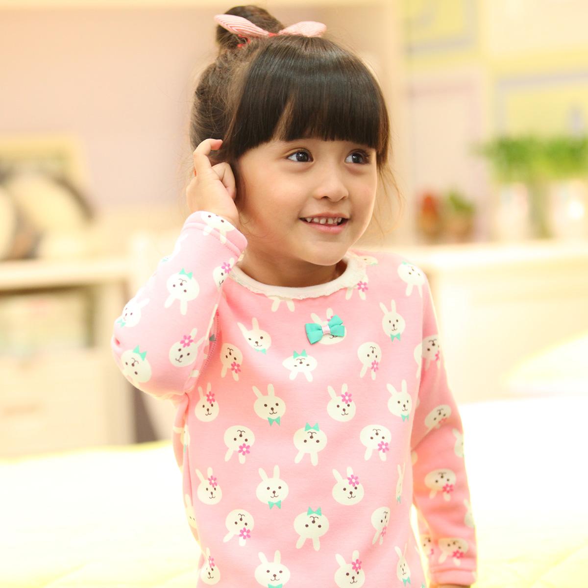 deesha笛莎童装2014冬季新品女儿童保暖加绒加厚内衣家居舒适套装