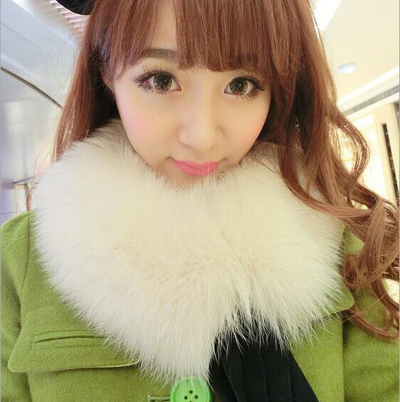 反季促销 狐狸毛围脖女毛领假领子 皮草围巾韩国女士秋冬毛领方领