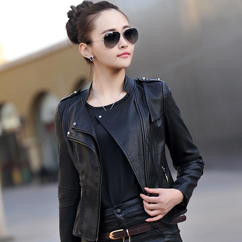 2015春装韩版外套pu皮衣女 短款毛领修身皮夹克女装机车服