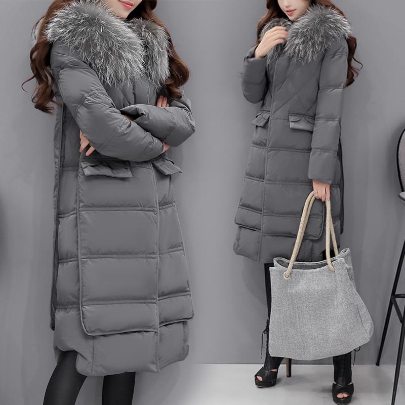 外套冬季长款修身韩国时尚加厚过膝女装清仓羽绒服