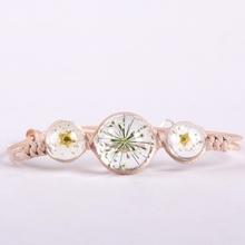 【春季新款】植物标本干花水晶玻璃球手链 纯手工编织