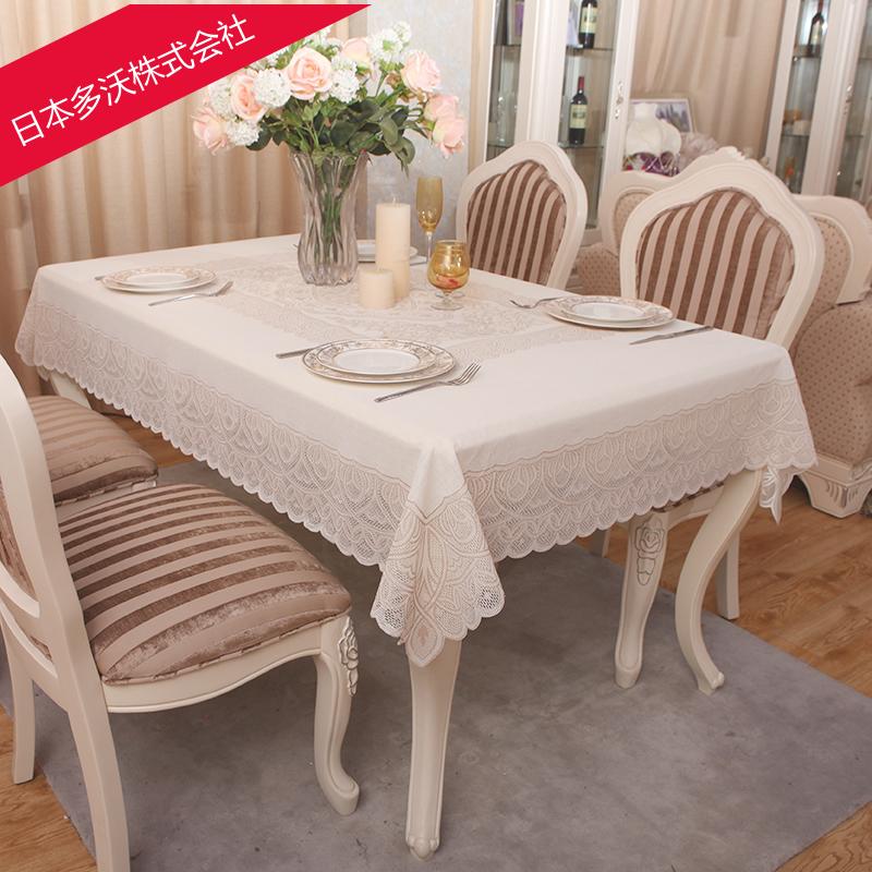 多沃日本pvc防水桌布欧式餐桌布蕾丝桌布台布免洗防