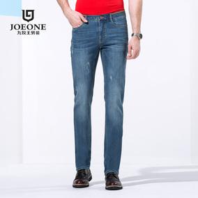 [专柜同款]九牧王男士中青年商务舒适棉直筒水洗牛仔裤男款长裤子