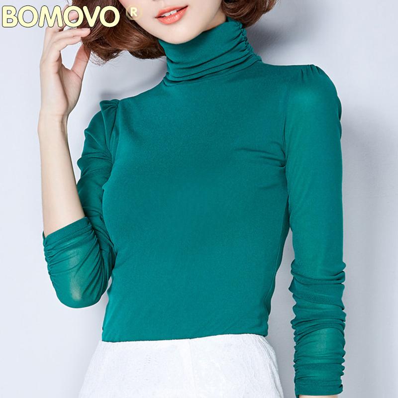 Bomovo春季女装欧美高领网纱长袖小衫纯色打底衫百搭春装上衣T恤