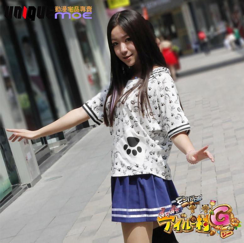 日系 艾路猫 怪物猎人 森女 卡通可爱立体蝙蝠袖T恤上衣女装短袖