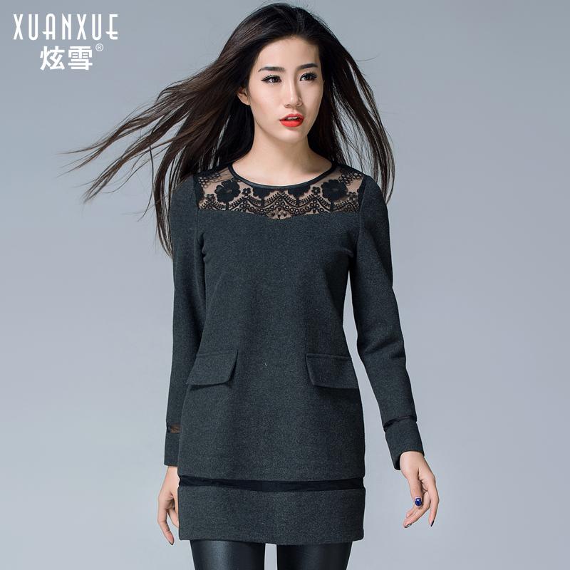 炫雪2015新款春装OL秋冬季优雅气质冬裙毛呢连衣裙长袖打底裙