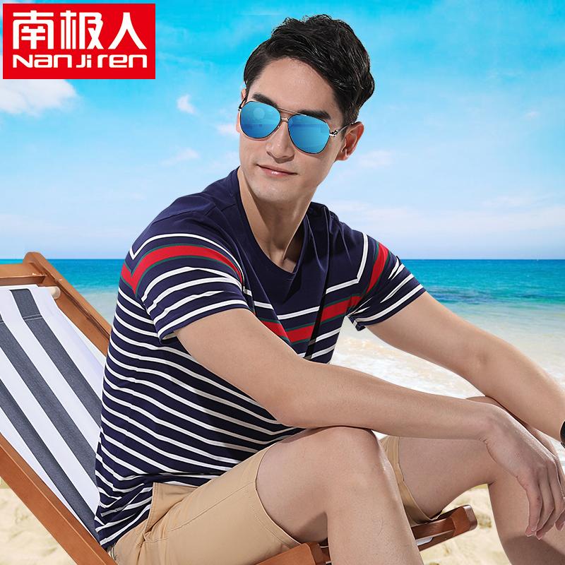 条纹青年海军体恤简约修身夏季纯棉南极海魂短袖