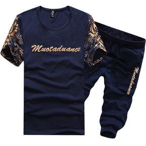 夏季男士短袖T恤 韩版修身青年圆领半袖大码百搭运动套装衣服男装