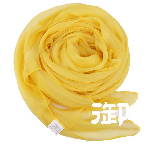 真丝围巾披肩两用超长春秋冬丝巾女长款韩版100%桑蚕鹅黄色御丝娘