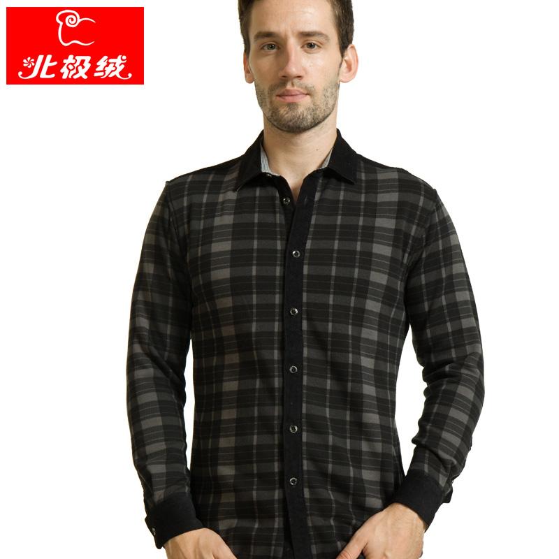 北极绒冬季新款男装男士保暖衬衫男加厚加绒保暖格子长袖商务衬衣