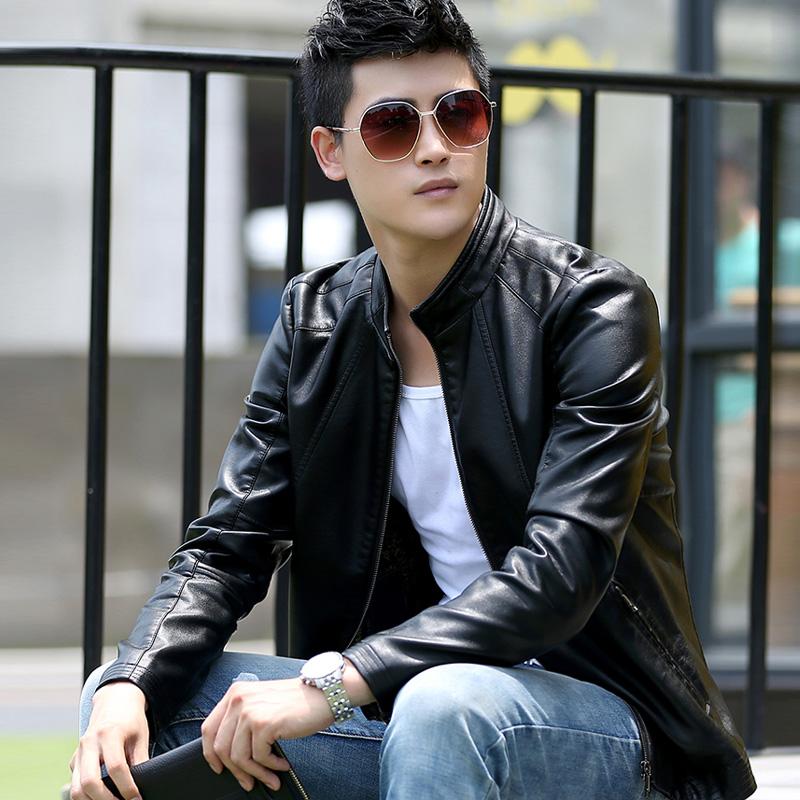 皮草皮衣男士加绒皮夹克 秋冬青年韩版修身立领短款海宁休闲外套