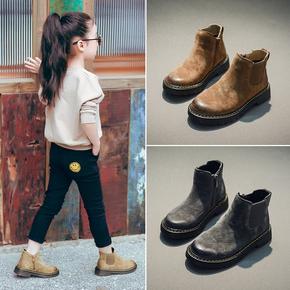 粉红小猪女童靴子秋冬2016新款儿童马丁靴真皮宝宝短靴男童棉靴