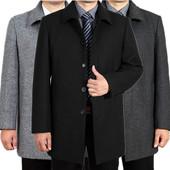 秋冬中老年男装羊毛呢大衣男士中长款厚风衣外套风衣爸爸装加大码