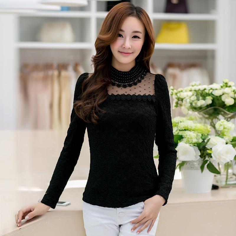 2014秋新款女装韩版钉珠网纱珍珠领蕾丝打底衫女长袖雪纺衫蕾丝衫