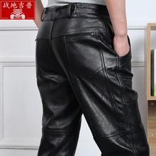 男式头层牛皮直筒裤 JEEP皮裤 男运动防风流行长裤 男真皮裤 春季AFS