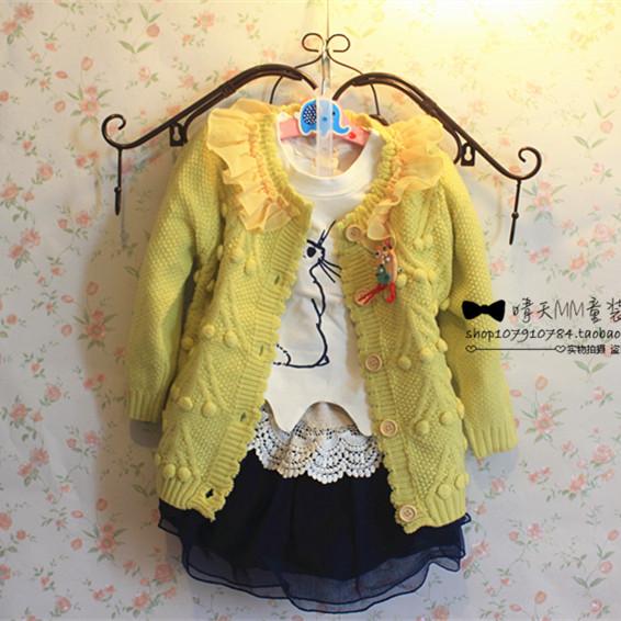 2014韩国童装女童秋冬装开衫立体球球雪纺拼接babyhands毛衣外套