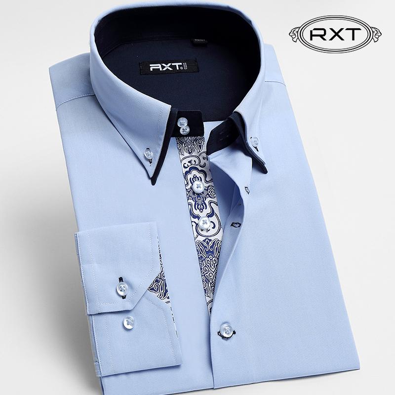 RXT秋季免烫正装长袖男士衬衣青年 双层领韩版修身型男装商务衬衫