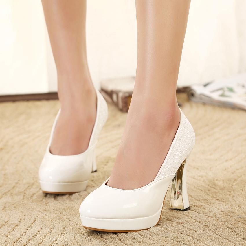 2015秋季单鞋高跟皮鞋百搭女士黑色上班通勤职业鞋白色学生女鞋潮
