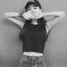 T恤韩国ulzzang学生露脐上衣外穿背心 短款 修身 无袖 打底衫 春夏女装