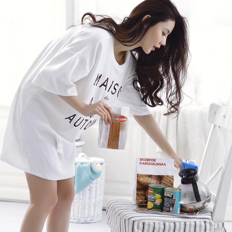 韩版2015睡衣女夏季纯棉短袖可爱休闲性感薄款连衣睡裙夏款家居服