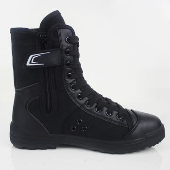 保安07作训高帮靴子黑色帆布军训