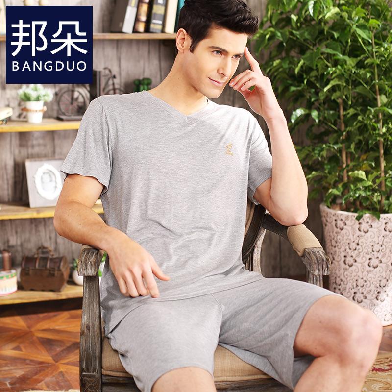 夏季纯棉男睡衣短袖薄款夏天男士中年男款加肥加大爸爸家居服套装