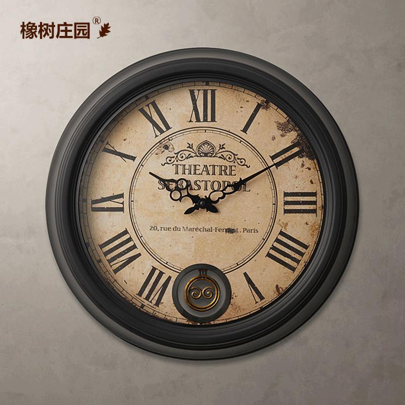 欧式复古罗马数字铁艺大挂钟