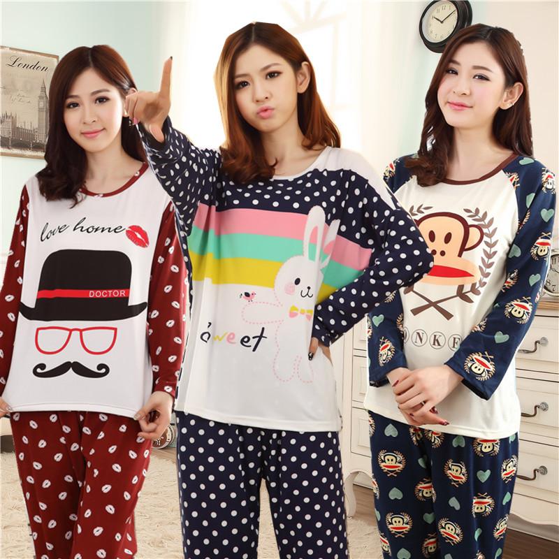 特价春秋季女士睡衣长袖可爱卡通棉质冬款家居服莫代尔韩版女套装