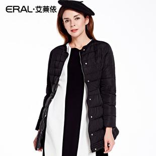 艾莱依2016冬装新款韩版圆领女士羽绒服修身中长款ERAL16065-EDAC