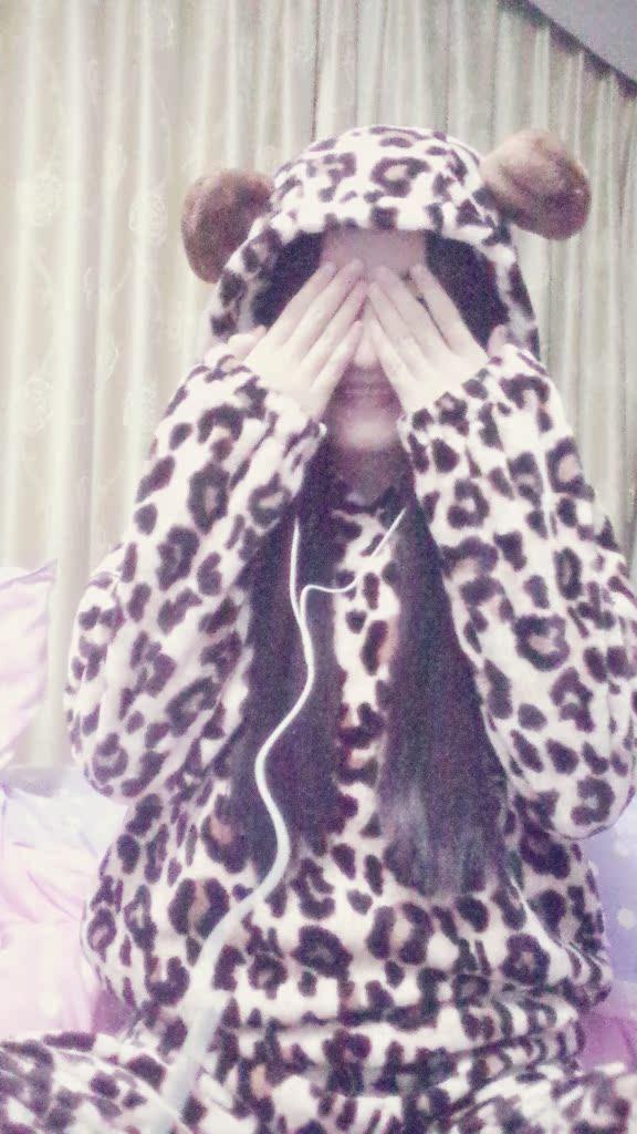甜美豹纹保暖睡衣套装带帽可爱睡衣上衣裤子