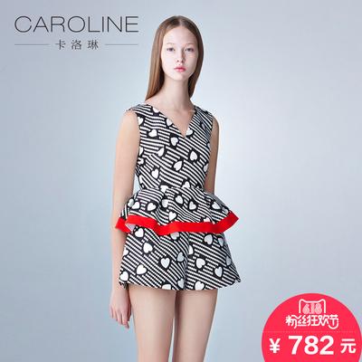 CAROLINE/卡洛琳时尚个性图案印花荷叶边v领上衣 专区满送券