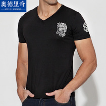 奥德里奇男士短袖T恤简约V领黑色 2015夏季装莫代尔打底衫半袖