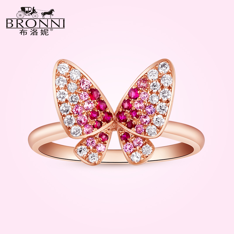 天然红宝石戒指18K黄金镶嵌钻石珠宝彩宝女戒指彩色宝石可爱首饰