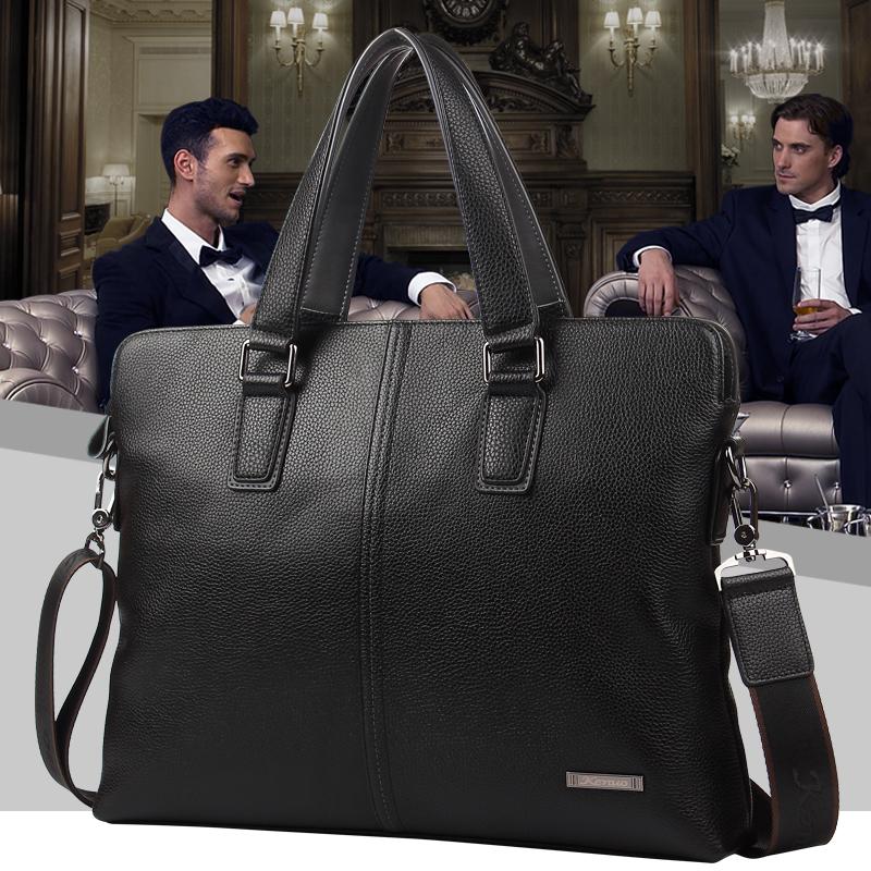 可诺新款男士真皮商务包手提包单肩包商务包头层牛皮横款公文包袋