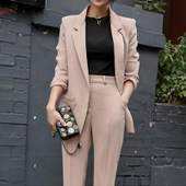 西装 女两件套 显瘦气质休闲时尚 新品 一粒扣西服 修身 2016秋季韩版