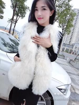 [仅此一天] 2015年冬季新款宁夏滩羊毛皮草马甲韩版中长款羊羔毛带口袋背心女