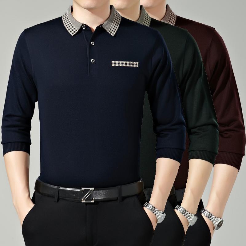 2016春季新款男士长袖T恤中年男装翻领羊绒体恤衫休闲爸爸装8071