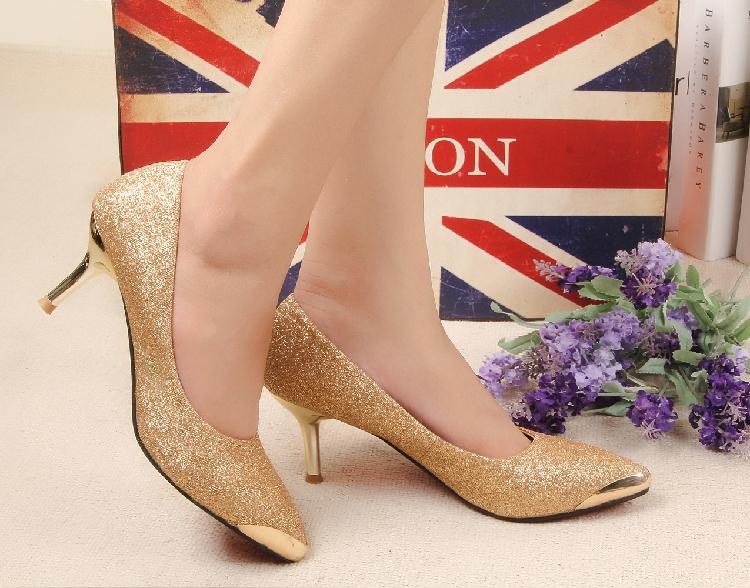 包邮欧美金属尖头金色鞋工作鞋单鞋高跟 通勤职业细跟OL女鞋瓢鞋