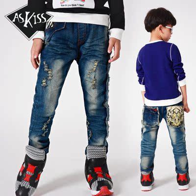 Askiss童装2015秋装新款男童牛仔裤休闲裤韩版儿童长裤子潮
