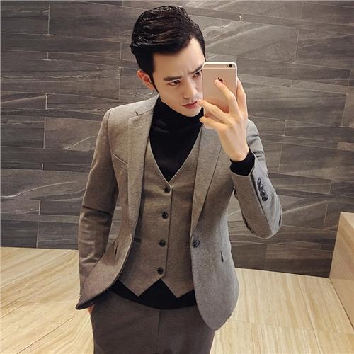 秋冬季韩版男士修身一粒扣小西装套装发型师西服三件套新伴郎礼服