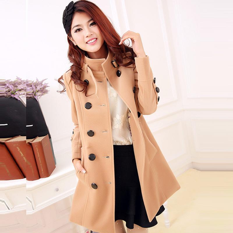 2014秋冬新款韩版时尚双排扣大码修身毛呢外套中长款呢子大衣