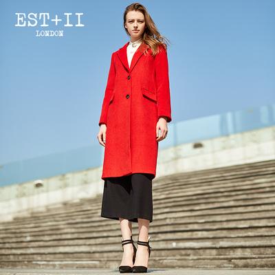 EST+II/艺诗2016秋冬新款韩版修身毛呢外套女中长款气质复古外套